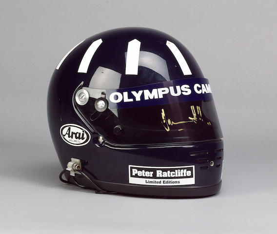 A signed Damon Hill helmet worn by Damon on his Formula 1 debut, 1992,