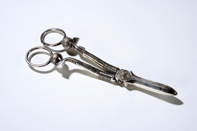 An electroplated grape scissors circa 1910s