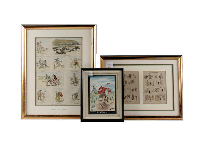 An original H. R. Gardiner watercolour cartoon, circa 1930s Together with four other golfing images.  All in fine condition and all framed and glazed. (5)