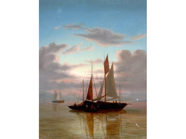 Circle of Abraham Hulk (Senior) Fishing Boats at sunset on calm sea,