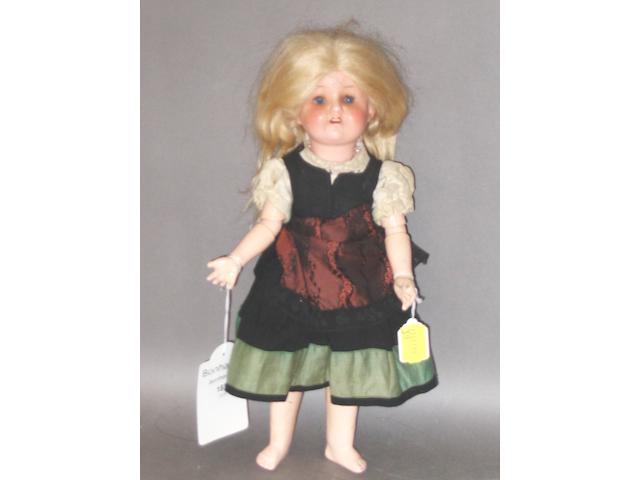 Heubach Koppelsdorf 320 sprayed bisque head doll, circa 1930,
