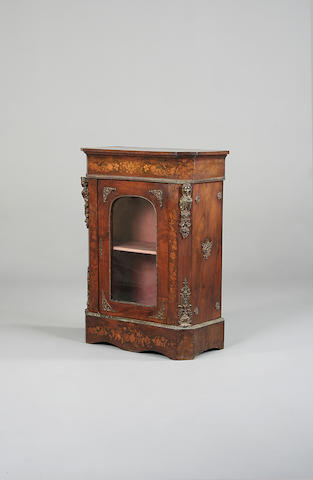 A Victorian walnut, floral marquetry and gilt metal mounted pier cabinet