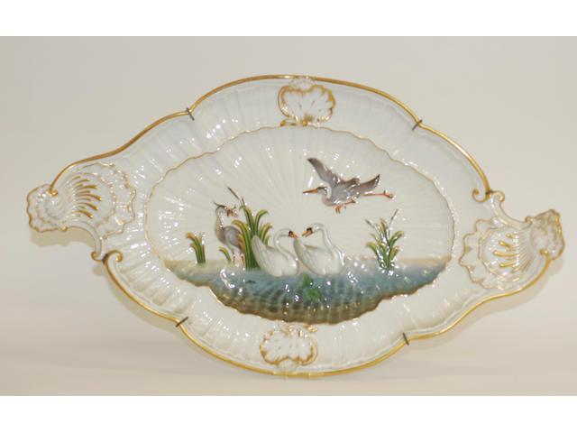 A Meissen shaped oval tray