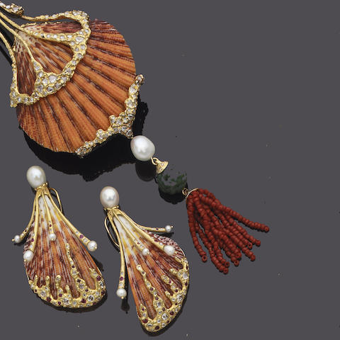 A shell, diamond and gem-set sautoir and earring suite,