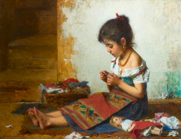 Alexei Alexeevich Harlamoff (Russian 1842-1915) The little seamstress 85 x 107.5 cm. (33 1/2 x 42 1/