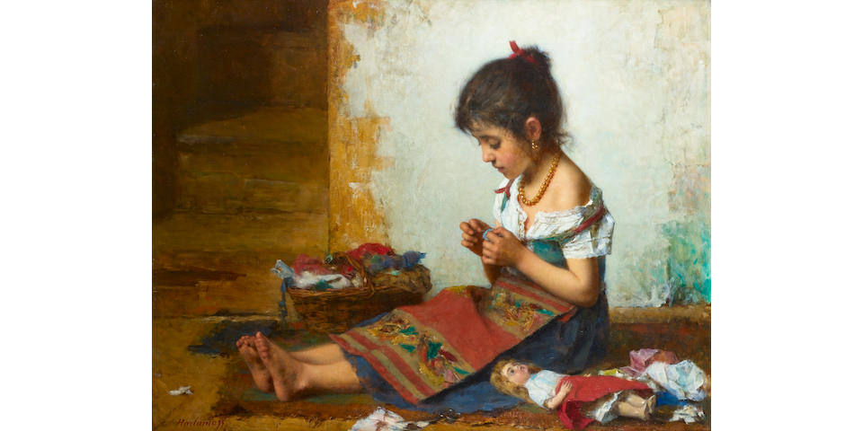 Alexei Alexeevich Harlamoff, 1840-1925 The little seamstress 85 x 107.5 cm. (33 ½ x 42 ¼ in.)