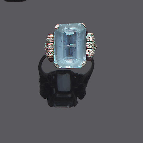 An art deco aquamarine, ruby and diamond ring,