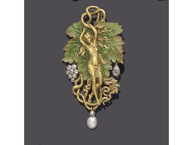 An art nouveau enamel, diamond and pearl brooch/pendant, by Plisson et Hartz,