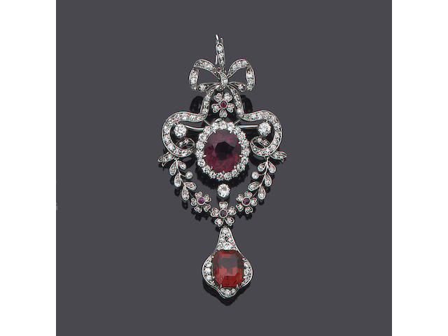A mid 20th century diamond and red spinel brooch/pendant