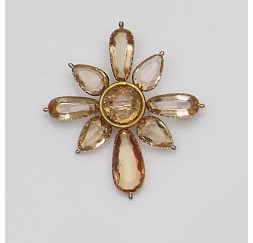 A late Victorian citrine, cultured pearl and diamond brooch (4)
