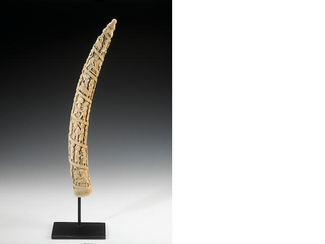 A Large Loango ivory tusk