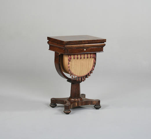 A William IV rosewood games/work table