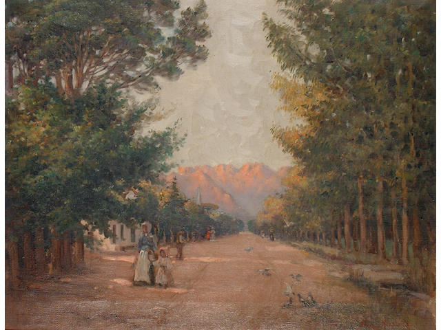 South African (19th/20th Century) Street scene with mountains beyond.