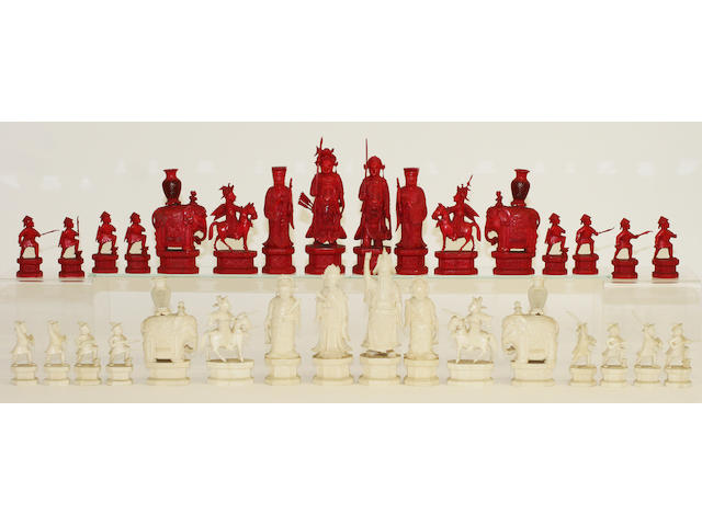 A good, large 19th century Canton export ivory chess set
