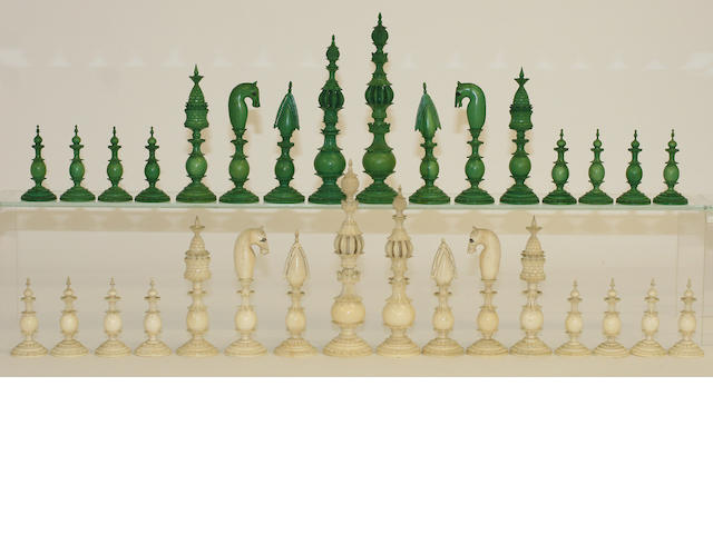 A good, early 19th century Indian 'Pepys' type ivory chess set
