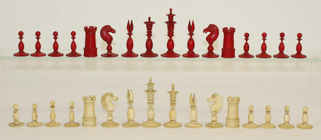 An early-mid 19th centuryCalvert style ivory chess set