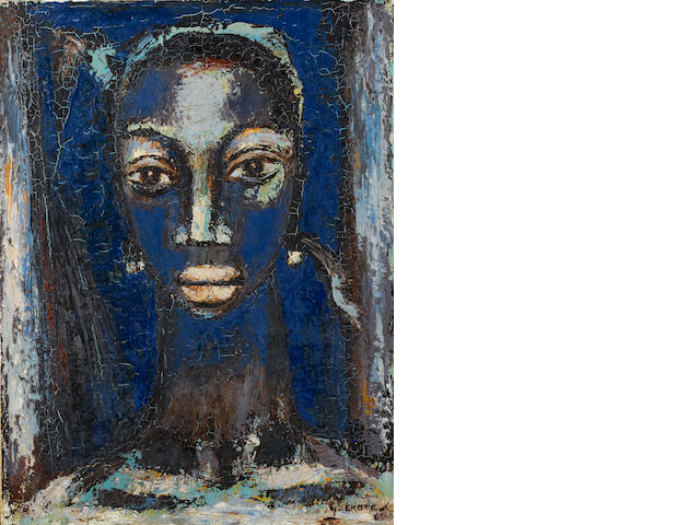 Gerard Sekoto (South African, 1913-1993) Blue Head, 1960 61 x 45.8 cm. (24 x 18 in.)