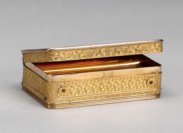 A musical silver gilt snuff box, Swiss, early 19th century,