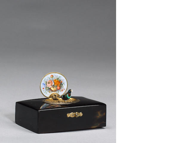 A Charles Bruguier tortoiseshell and enamel singing bird box,  Swiss,  circa 1830s,