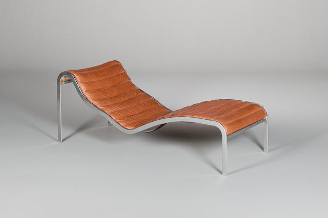 A chaise longue from the film You Only Live Twice, 1967,  a contemporary design with stainless steel