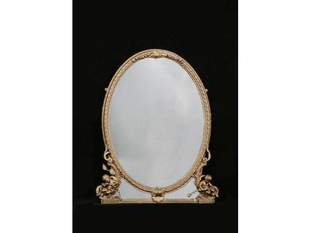 A late 19th century gold painted overmantle mirror