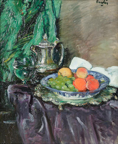 George Leslie Hunter (1877-1931) Still life of coffee pot, wine glass, salver and fruit