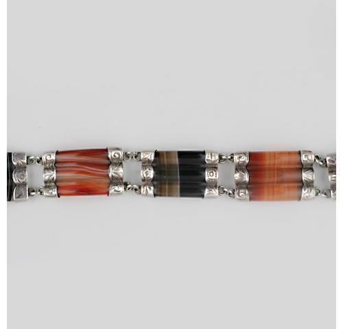 A Victorian Scottish agate bracelet,
