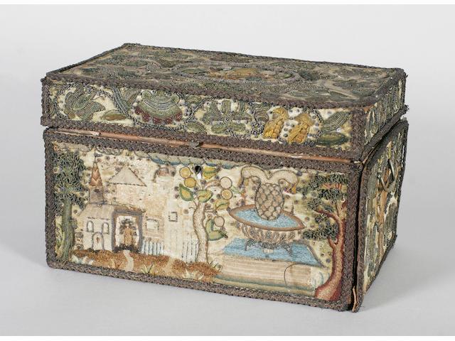 A mid 17th century needlework casket box