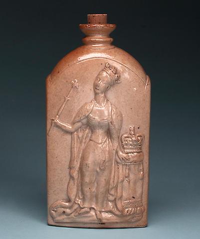 1837 Coronation, a J Green of Lambeth saltglazed stoneware flask
