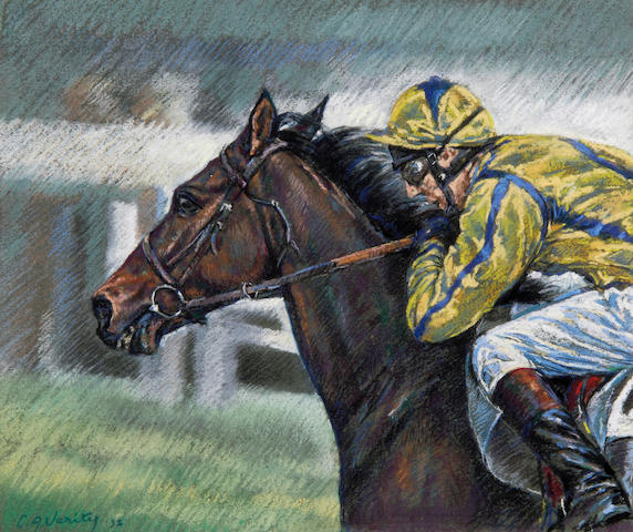Claire A. Verity (Contemporary) Bay horse with jockey in yellow silks with blue stripe