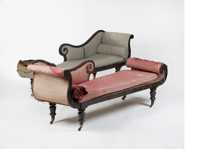 A pair of regency simulated rosewood day beds