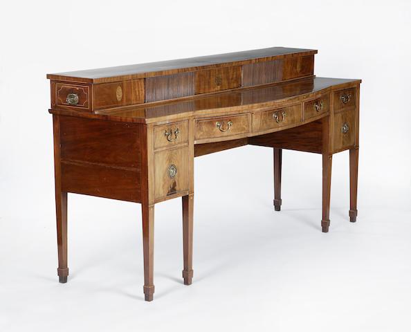 An Edinburgh George III mahogany and inlaid stage back sideboard