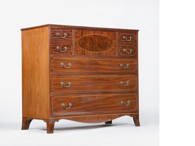 An early 19th century Edinburgh mahogany and satinwood strung secretaire chest