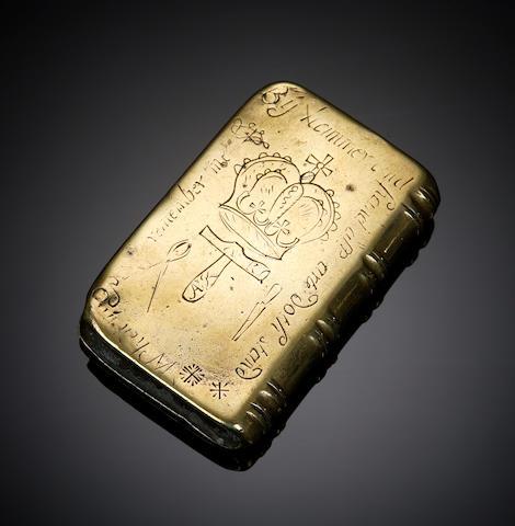 An early 18th century 'hammerman's' brass vesta box Dated 1721