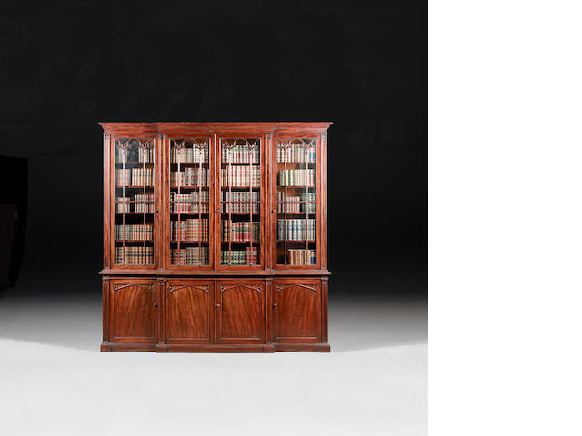A late Regency mahogany Breakfront Library Bookcase