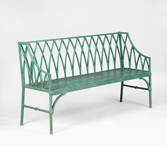 A Regency cast iron garden bench