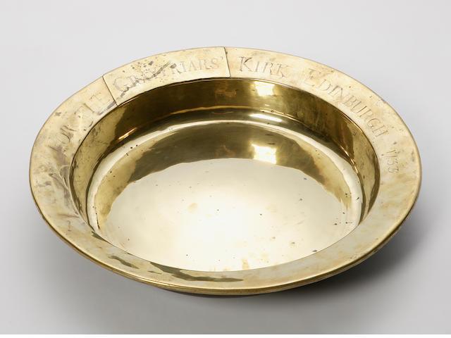 A brass alms dish,