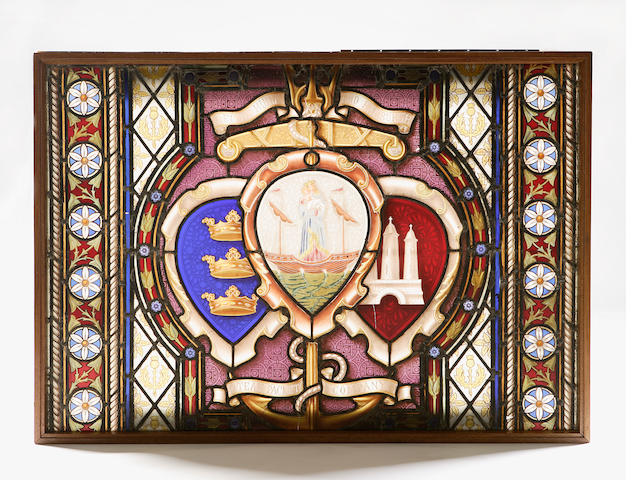 "A leaded and stained glass window panel of the ""Leith Hull & Hamburgh Steamship Company"""