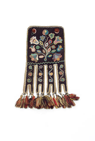 A large Athabascan beaded cloth Octopus bag 48cm.