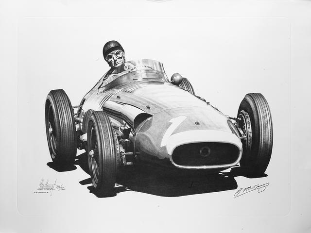 'Juan Manuel Fangio/Maserati 250F', after Alan Stammers,  25 x 35in