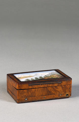 A musical amboyna and enamel snuff box,  Swiss, circa 1830,
