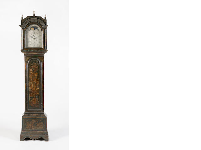 A late 18th century black japanned longcase clock,  James Bishop Musselburgh,