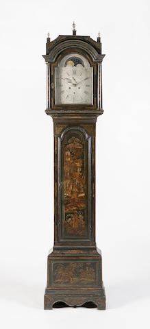 A late 18th century black japanned longcase clock,  James Bishop Musselburgh,