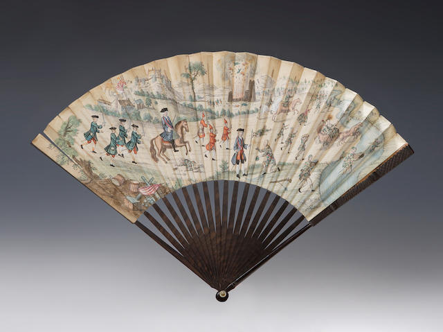 An early 19th century fan depicting the siege of Stirling