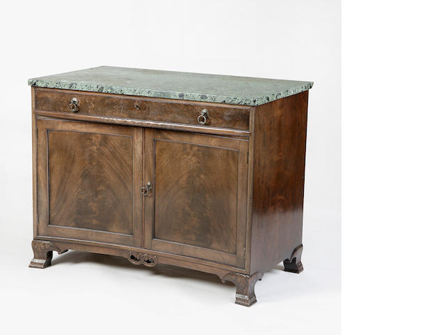A Whytock & Reid walnut and green marble mounted side cabinet