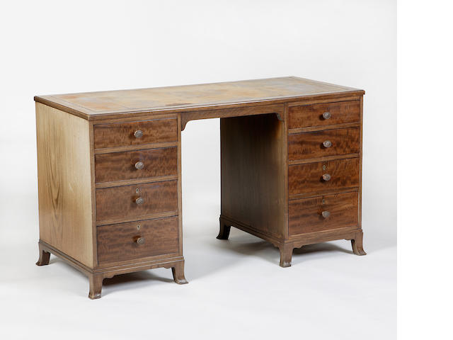 A Whytock & Reid mahogany pedestal desk