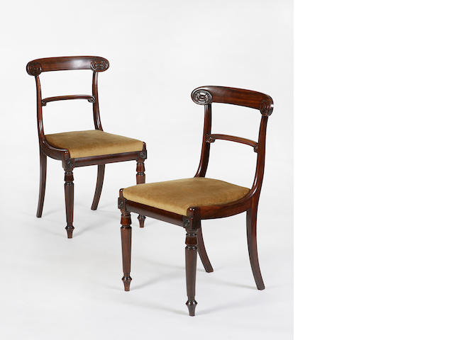 A set of eight Regency rosewood dining chairs