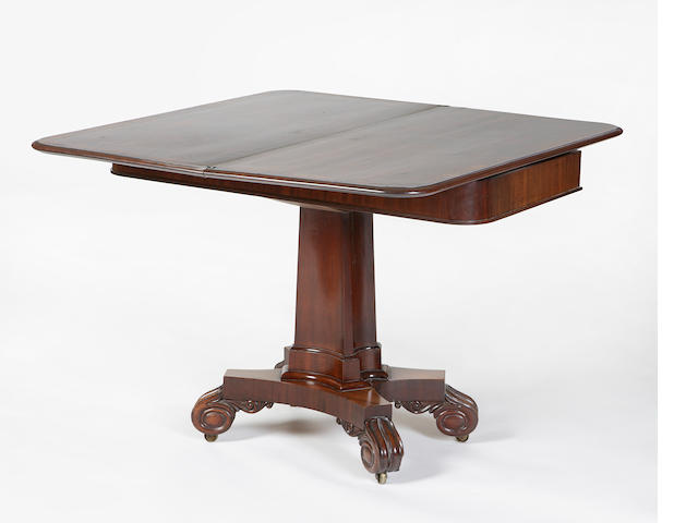 A late Regency mahogany tea table