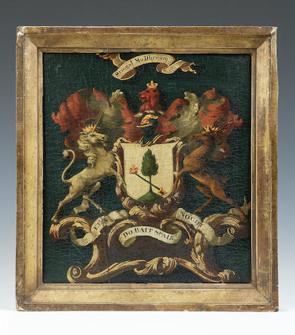 A mid to late 18th century painted armorial panel of the Clan Macgregor