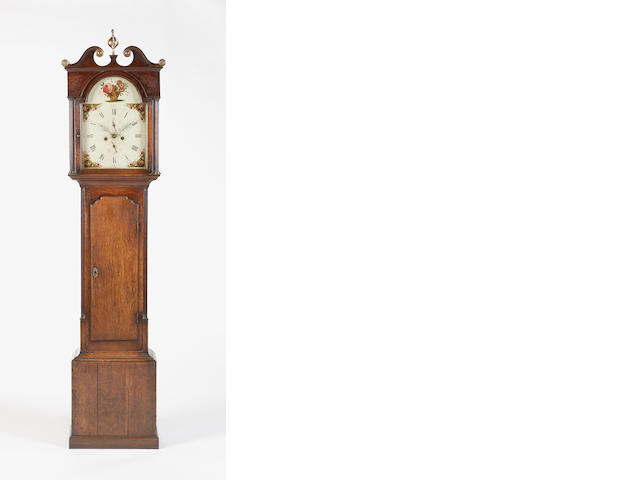 An early 19th century oak longcase clock indistinctly signed *sharp (probably Coldstream)